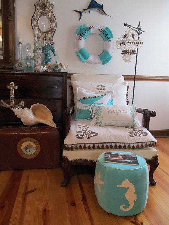 Turquoise seahorse ottoman... like the wreath, can do with painted Styrofoam wreath and white nautical rope