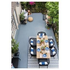 Create an outdoor courtyard area that's classic, comfortable and family friendly with this Modern Outdoor Patio Collection styled by Emily Henderson. Blue, white and black hues with copper and natural wood accents tie together this backyard retreat.