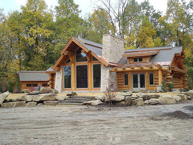 Single level log cabin floor plans for Single floor log homes