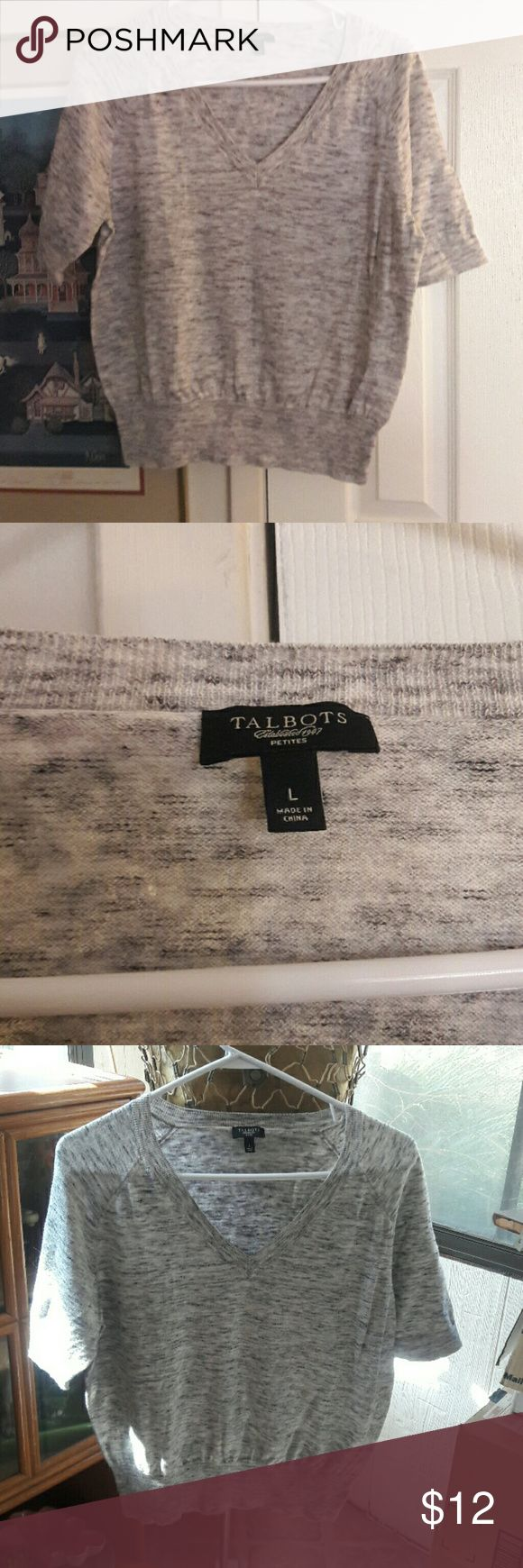 Talbot petite size large sweater Light weight grey black and white v neck sweater like new will bundle to save on shipping Talbots Sweaters V-Necks