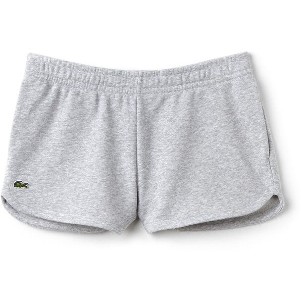 Grey Women's Lacoste Sport Tennis Fleece Shorts ($67) ❤ liked on Polyvore featuring activewear, activewear shorts, lacoste and lacoste sportswear