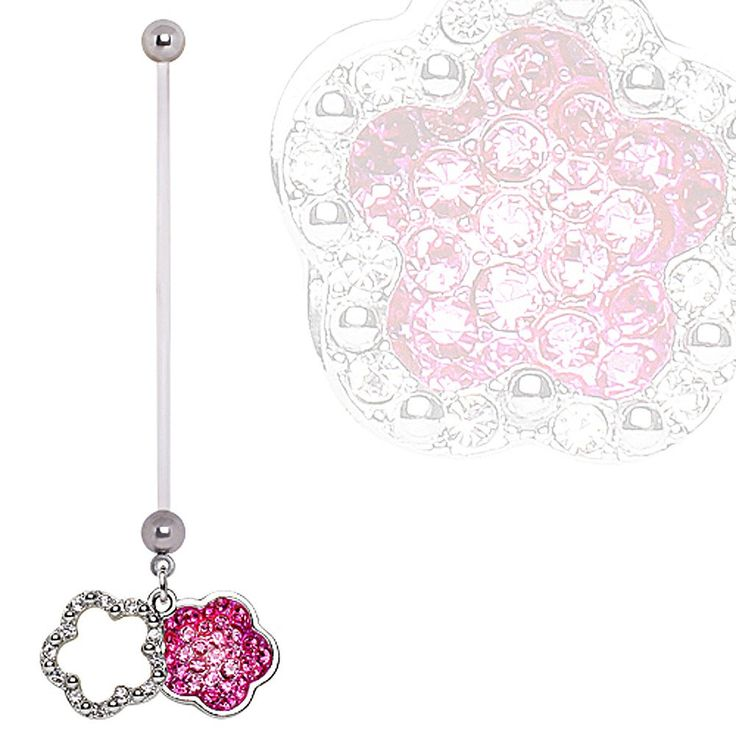 BioFlex Double Layer Flower Dangle Pregnancy Navel Ring #BellyRing #Flower #FlowerBellyRing #BodyMod #BodyModification #Piercings
