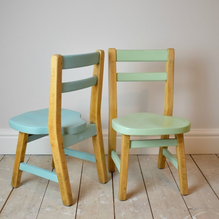 Cute little retro children's chairs, restored and painted in pastel colours.