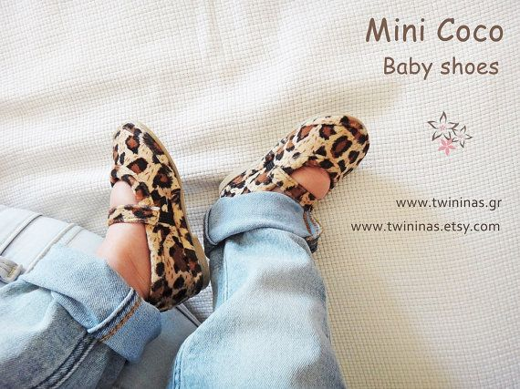 Mini Coco Ballerinas  Cute handmade baby leather ballerinas shoes. High quality Greek leather in leopard shades and leather lining. Has one strap.