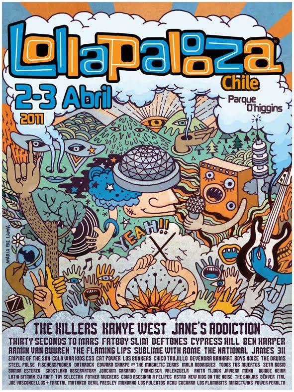 LOLLAPALOOZA 2011 Diseño de Polera y afiche para festival de musica. Poster and t-shirt desgn for Lollapalooza Festival, one of the biggest ...