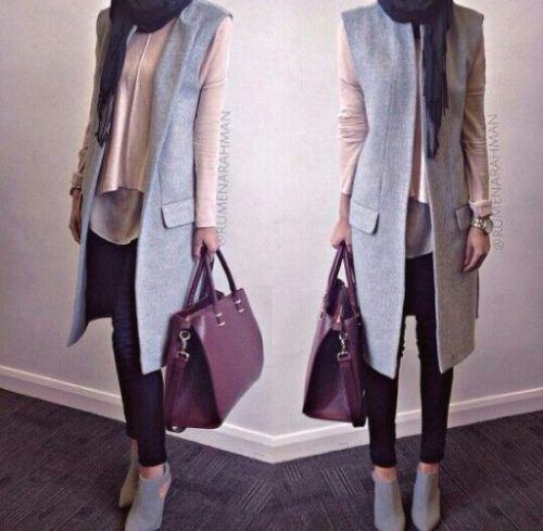 gray vest with hijab- Trendy and chic hijab looks http://www.justtrendygirls.com/trendy-and-chic-hijab-looks/