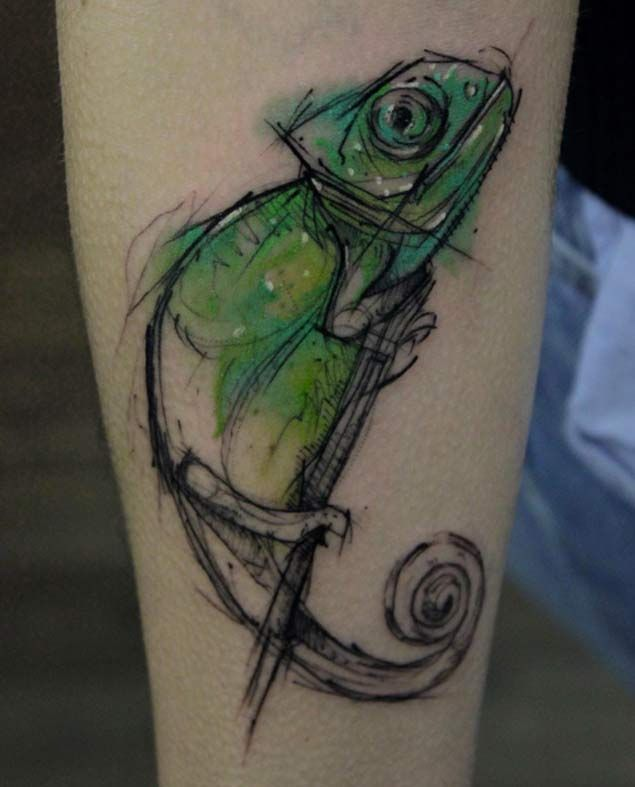 Chameleon Sketch Tattoo by Kamil Mokot