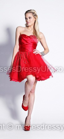 A-line Sweetheart Tulle Short/Mini Red Ruffles Prom Dress