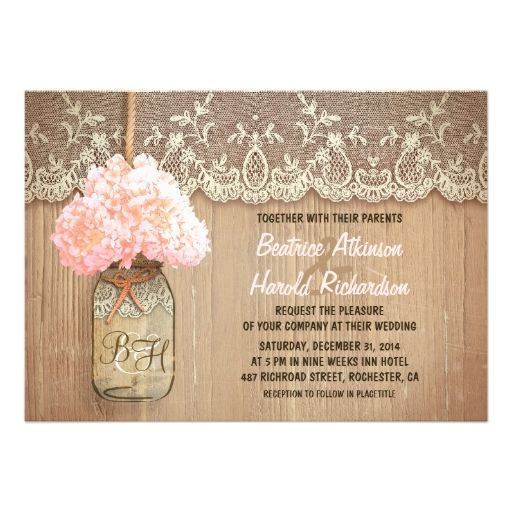 rustic country mason jar pink hydrangea wedding announcements