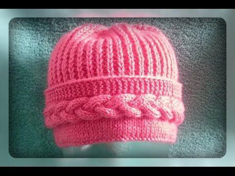 женская шапка с поперечной косой спицами - YouTube