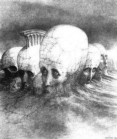 Image result for Zdzisław Beksiński drawings