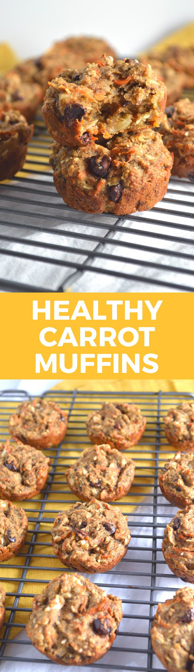 One Bowl Heathy Carrot Banana Muffins | a perfectly quick + delicious on-the-go breakfast or snack!
