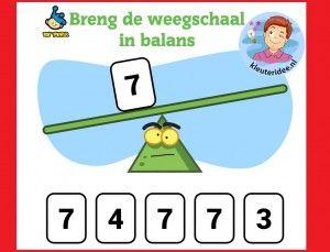 Breng de weegschaal in balans met kleuters op digibord of computer op kleuteridee, Kindergarten math weight game for IBW or computer