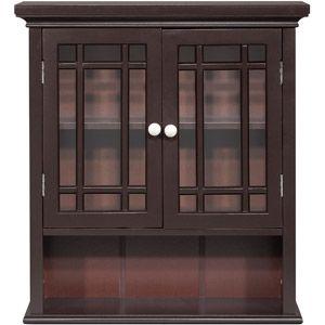 Elegant Home Fashions Heritage Wall Cabinet, Dark Espresso