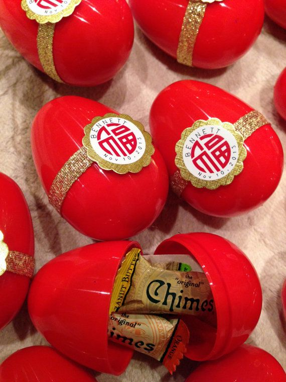 Custom Red Egg and Ginger Party Favors for Moon Yut by PetiteNest