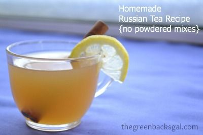 For cold days: Homemade Russian Tea Recipe {no powdered mixes!} via The Greenbacks Gal #realfood #wholefood