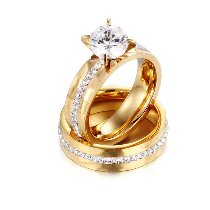 Couple Ring Stainless Steel Crystals Aaa Zircon Band Ring Gold Wedding Jewelry