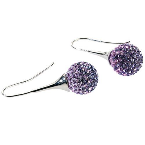Orecchini in ottone con strass e resina violet