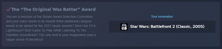 For this years Steam Awards write in category...