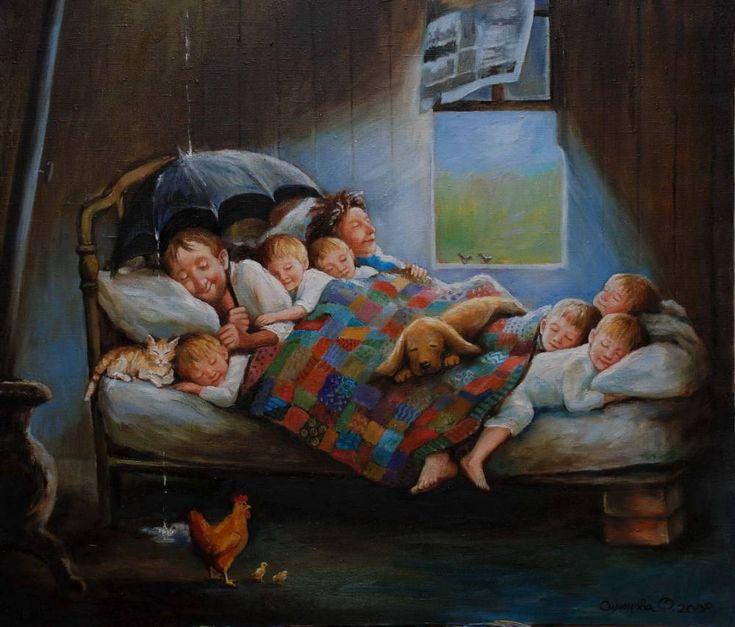 Картины (живопись) : Копия картины Д.Денгель Счастливая семья