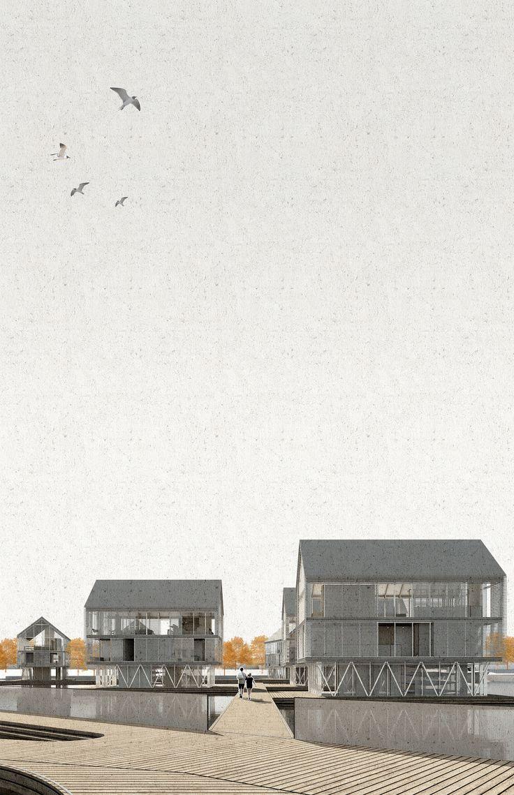 IZOLYATSIA. Transforming the Kiev Docklands. Floating Village. Architecture Competition. Architecture Visualisation..