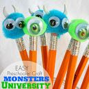Monsters University Pom Pom Pencils - give these out instead of candy! #monstersu