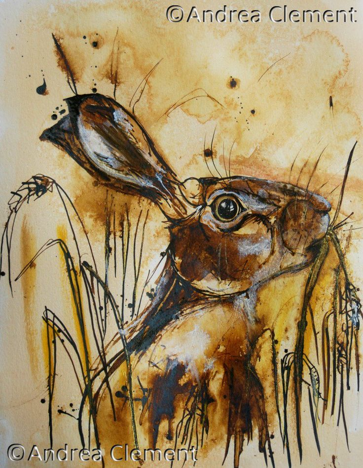 Crop Nibbling Hare. 21 x 28 cm acrylic inks. ©Andrea Clement