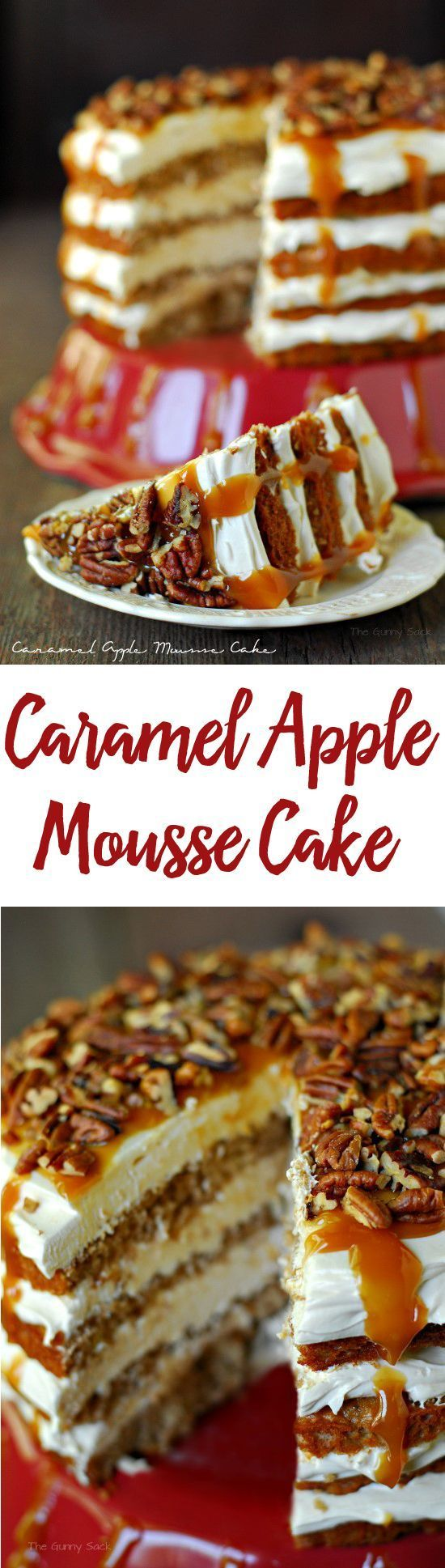 Caramel Apple Mousse Cake is layers of apple cake and creamy caramel mousse. Apple desserts are perfect for fall parties!
