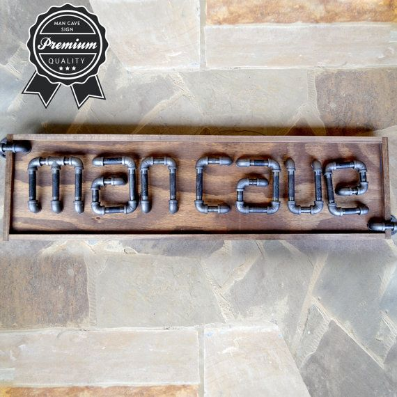Man Cave Industrial Art Sign made of Steel Pipe by AnythingPhotos