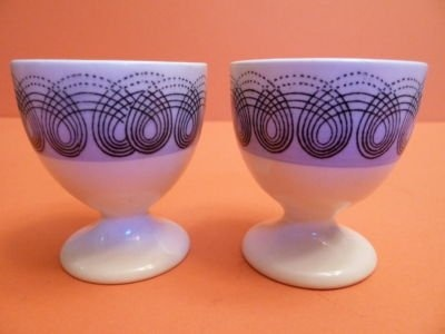 Blue & White - Pair Wedgwood Eric Ravilious Persephone Egg Cups