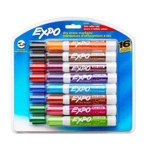 Expo Low odor, Dry Erase Markers, Chisel Tip, 16-Pack, Assorted