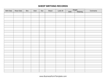 This Sheep Birthing Record Includes Spaces For All The