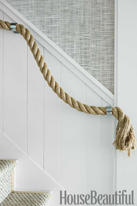 Stout rope provides the stairway's nautical handrail.