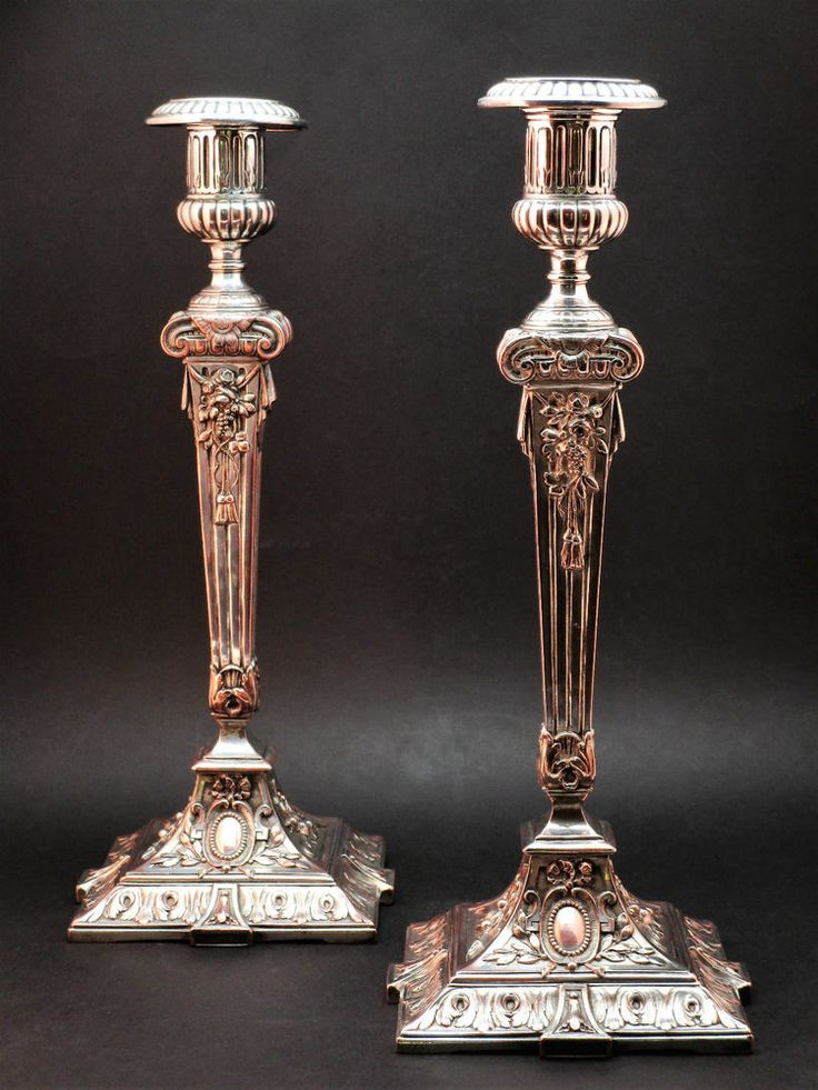 FINE PAIR ORNATE ANTIQUE 19thC VICTORIAN NEOCLASSICAL SILVER PLATE CANDLESTICKS & 97 best Antique Silver Plate images on Pinterest | Antique silver ...