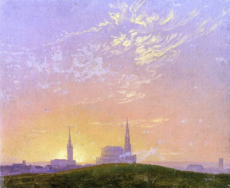 Caspar David Friedrich - Abend (also known as Sonnenuntergang Hinter der Dresdener Hofkirche) (1824)