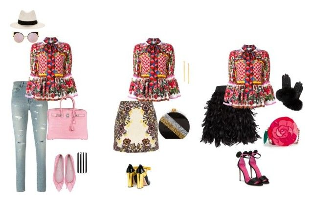 Dolce & Gabbana peplum blouse by tomominakamura48 on Polyvore featuring ファッション, Dolce&Gabbana, Yves Saint Laurent, Alice + Olivia, Oscar Tiye, Gucci, Kate Spade, Hermès, Edie Parker and Lana