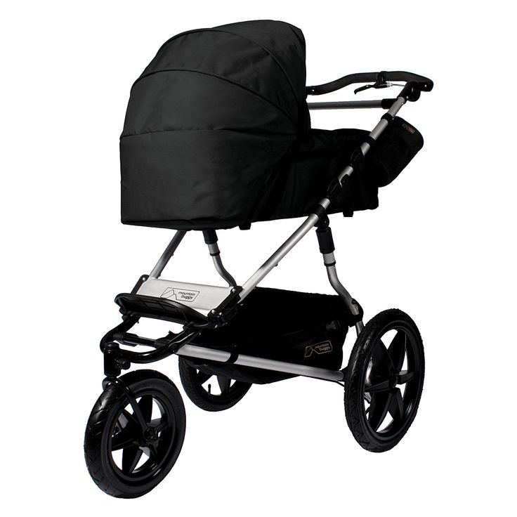 A black pram style carrycot designed to perfectly fit the Urban Jungle, +one and terrain buggies by Mountain Buggy