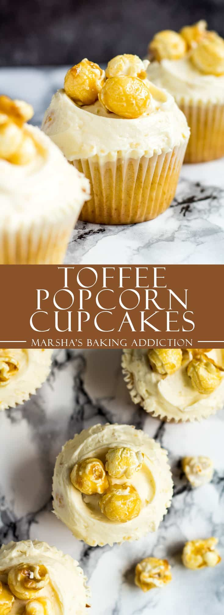 Toffee Popcorn Cupcakes - Deliciously moist and fluffy vanilla cupcakes stuffed full of toffee popcorn, and topped with a creamy buttercream frosting with popcorn bits! | marshasbakingaddiction.com | @marshasbakeblog #toffee #popcorn #cupcakes