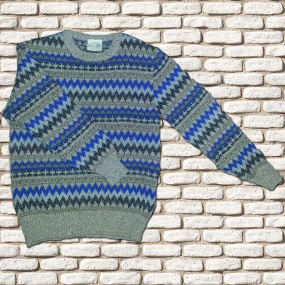 Blue & Grey Wool Fairisle Sweater by BessieMidge on Etsy, £20.00
