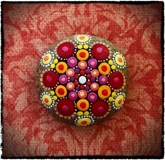 Jewel Drop Mandala Painted Stone- Summer Sunset #elspethmclean #summerstone #rockart #mandala