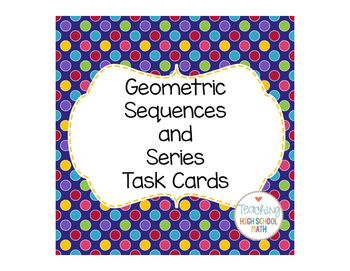 In this packet, I have included 12 task cards that your students can use to practice working with geometric sequences and finite series.I have also included the two formulas associated with geometric sequences and series that could be cut out and pasted in an interactive notebook.I have also included a record sheet with the correct answer to each question embedded in a QR Code.I have also included a blank record sheet that students can use to record their answers if you do not have or do not…