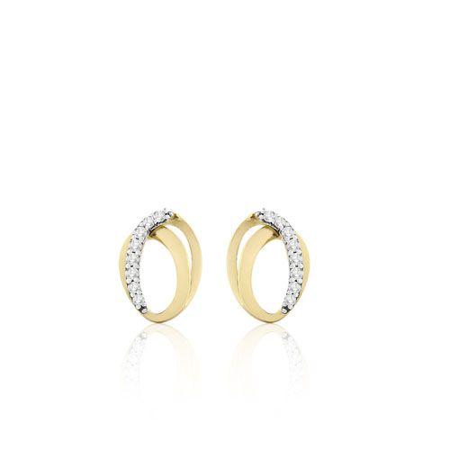Brinco Ouro Amarelo e Diamantes Travessia