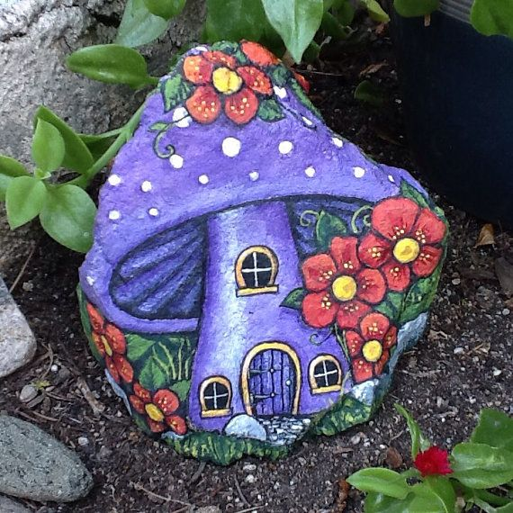 PURPLE MUSHROOM HOUSE pretty little painted rock home for fairy or gnome, perfect for the garden