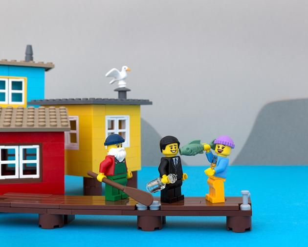 LEGO Canada provinces - Newfoundland - Come-from-aways learn that being screeched-in is worse next morning when you figure out your pillow is a haddock.