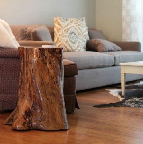 table déco en souche d'arbre