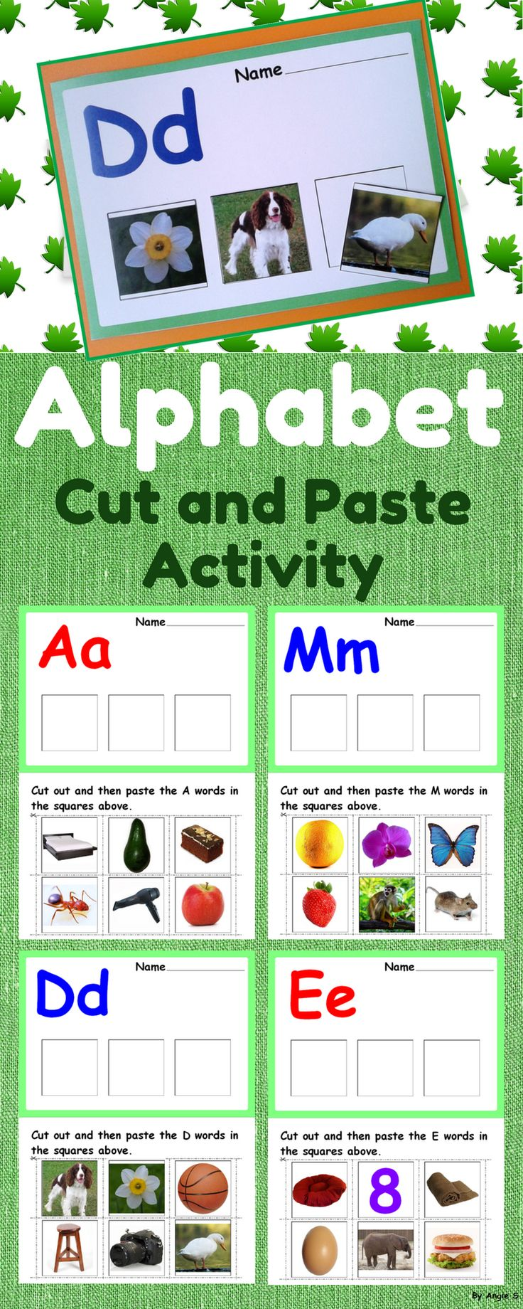 Back to School Alphabet Cut and Paste Activity, Beginning Sounds for Autism, Special Education, Kindergarten, 1st, ESL. The cut and paste worksheets are meant to help children learn and recognize letters and distinguish the initial sound in a word. This is an activity for learning the alphabet. After recognizing the letter on the page, the student will pronounce the name of each picture. #alphabet #cutandpaste #sped #kindergarten #speechtherapy #backtoschool #letters #phonics