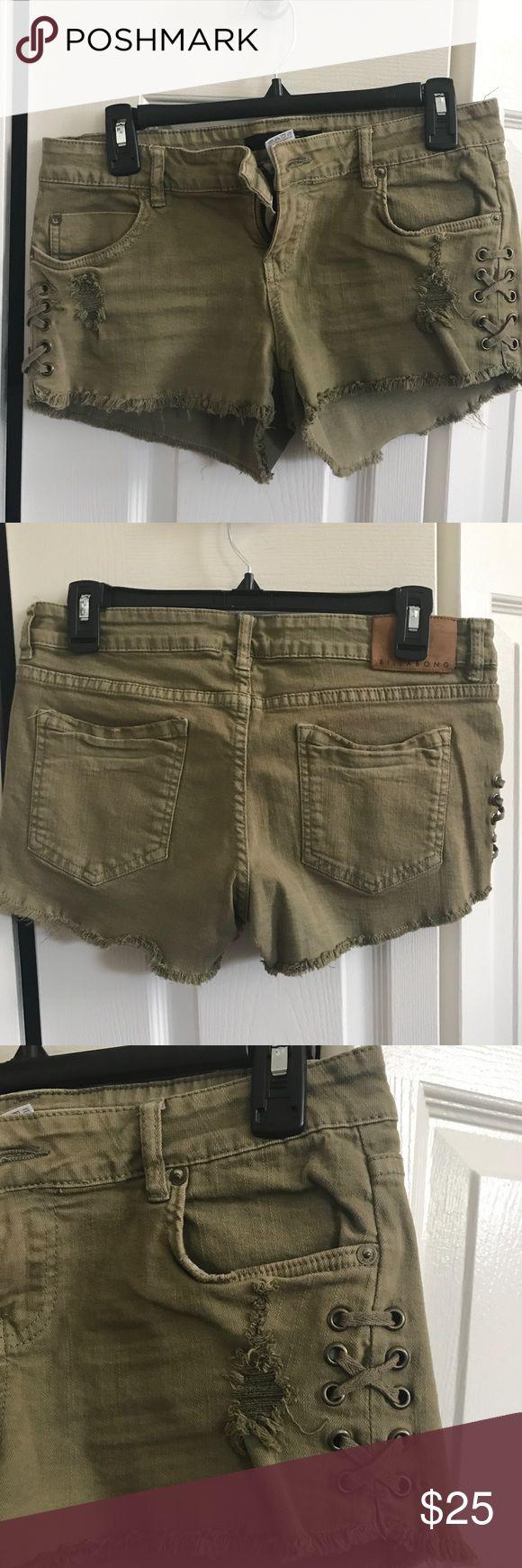 Distressed army green denim shorts Distressed army green denim shorts Billabong Shorts