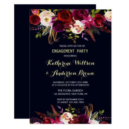 Navy Burgundy Marsala Boho Fall Engagement Party Card - autumn wedding diy marriage party personlize idea
