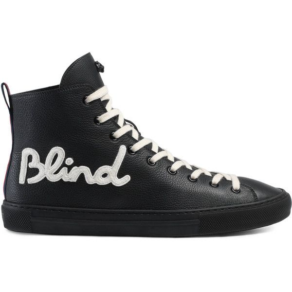 Gucci Blind For Love High-Top Sneaker ($640) ❤ liked on Polyvore featuring men's fashion, men's shoes, men's sneakers, sneakers, men, shoes, gucci mens sneakers, gucci mens shoes, mens hi top shoes and mens leather high tops