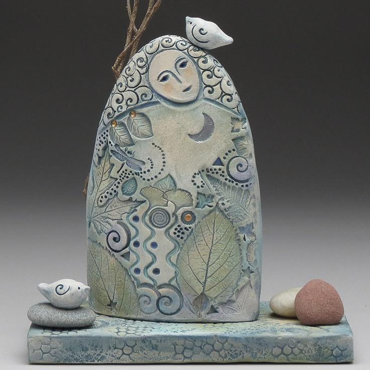 Goddess of the forest, ceramic sculpture by Sue Davis